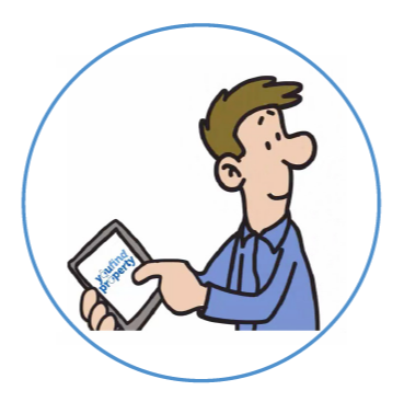 Cartoon man using a tablet